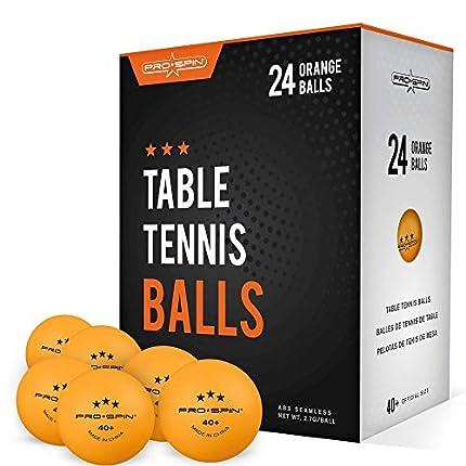 Pro Spin Pelotas de Ping Pong - Naranja - Pelotas 3* 40+ (Pack de 24) para Tenis de Mesa | Pelotas ABS de Alto Rendimiento y Durabilidad para Mesa de Ping Pong Interior/Exterior, Competición