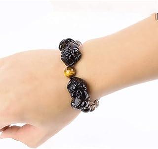 LCZ Bracelet Noir Obsidienne en Pierre Naturelle, Bracelets Bonne Chance Feng Shui, La Richesse des Bijoux d'argent pour H...
