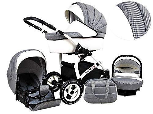 Kinderwagen White Lux, 3 in 1 - Set Wanne Buggy Babyschale Autositz (Silver)