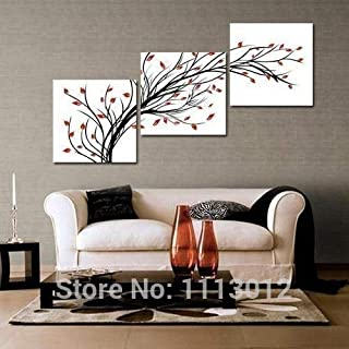 DIU Hand Painted Home Decoration 3 Panel Set Abstract White Red Tree Oil Painting Modern On Canvas Wall Art Picture For Li...