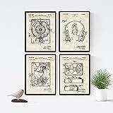 Nacnic Vintage - Pack de 4 Láminas con Patentes de Tocadiscos. Set de Posters con inventos y Patentes Antiguas. Elije el Color Que Más te guste. Impreso en Papel de 250 Gramos