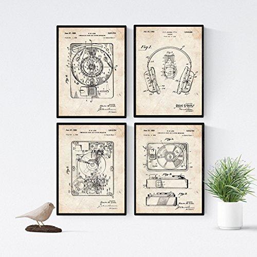 Nacnic Plattenspieler Patent Poster 4er-Set. Vintage Stil Wanddekoration Abbildung von Musik und Alte Erfindungen. Verschiedene Bilder ohne Rahmen. Größe A4.
