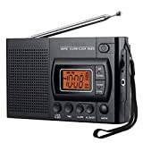LIUDOU AM Portatile/Radio FM, Piccola Radio con L'altoparlante, Jack per Cuffie, Sleep Timer, Orologio con Sveglia, Battery Operated (Non Include La Batteria)