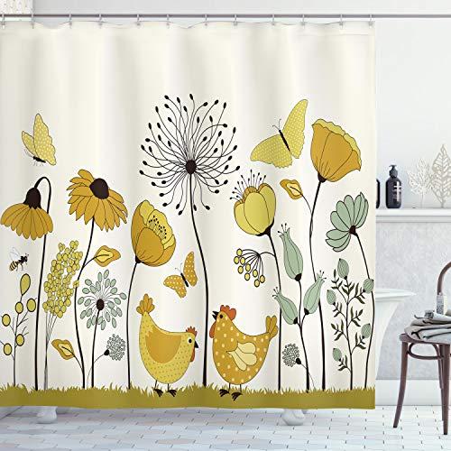 Lunarable Duschvorhang, gepunktet, Huhn & Henne fliegende Schmetterlinge unter Frühlingsblumen, Stoffstoff, Badezimmer-Dekor-Set mit Haken, 178 cm, Erdgelb & Senf