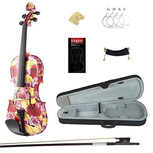 Kinglos 4/4 Gorgeous Colored Ebony Fitted Solid Wood Violin Kit with Case, Shoulder Rest, Bow, Manual, Extra Bridge and Strings Full Size