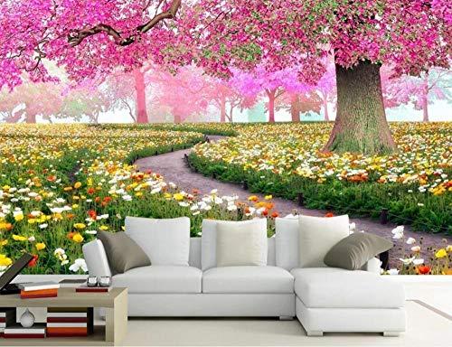 Papel Pintado Fotomurales 3D Habitacion Dormitorio Salon Tv Fondo Decoración Murales Empapelar Flor Árbol Flor Mar Flores 350cmx250cm