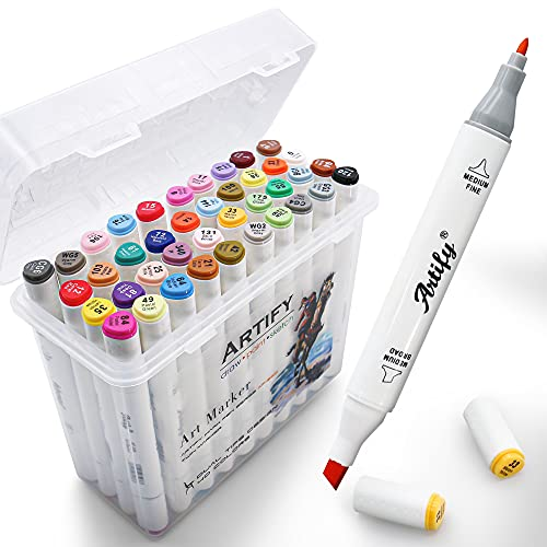 Artify Artist Alcohol Based Art Marker Set, Colors Dual Tipped Twin Marker Pens with Carrying Case