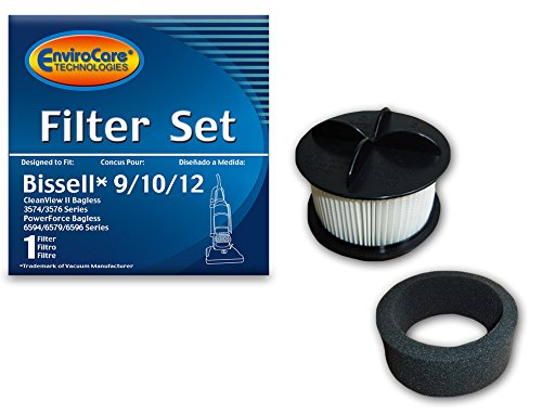 EnviroCare Replacement Vacuum Filter for Bissell 9/10/12 HEPA Pleated Micro Inner Filter and Outer Foam Filter