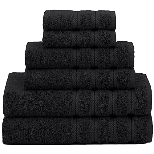 American Soft Linen, 100% Turkish Cotton 6 Piece Towel Set, Absorbent, Durable, Soft & Fluffy, Hotel & Spa Bathroom Towels, 610 GSM, 2 Bath 2 Hand 2 Wash Towels (Bath Linen Set, Black)