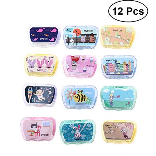 HEALIFTY Reise-Etui für Kontaktlinsen, 12 Stück, tragbare Beauty-Mate Box, Kontaktlinsenbegleiter, niedliches Mini-Box-Set (zufällige Farbe)