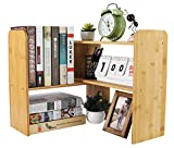 PAG Bamboo Desktop Shelf Adjustable Countertop Bookcase Office Supplies Desk Organizer and Accessories Display Rack