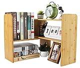 PAG Bamboo Desktop Shelf Adjustable Small Bookshelf Office Supplies Desk Organizer and Accessories Display Rack Dorm Decor for Women
