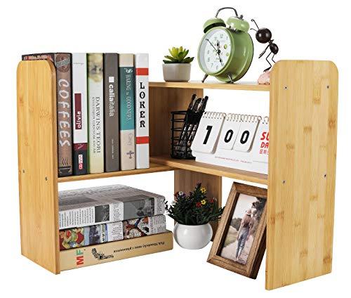 PAG Bamboo Desktop Shelf Adjustable Countertop Bookcase Office Supplies Desk Organizer and Accessories Display Rack