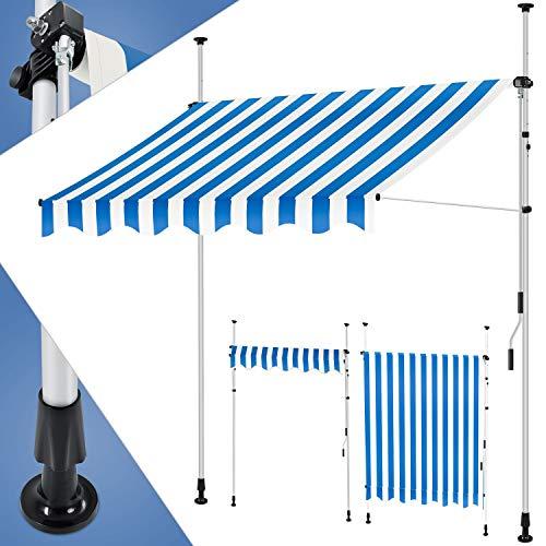 KESSER® Klemmmarkise 250cm x 180cm Blau-Weiß mit Handkurbel Balkon, Balkonmarkise ohne Bohren, UV-beständig höhenverstellbar wasserabweisend, Sonnenschutz, Terrassenüberdachung, einfache Montage