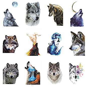 WYUEN 12 PCS/lot Wolf Temporary Tattoo Sticker for Women Men Fashion Body Art Adults Waterproof Hand Fake Tatoo 9.8X6cm  FW12-41