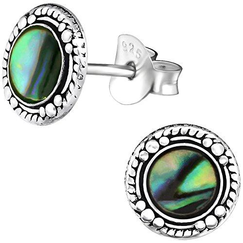 EYS JEWELRY Ohrstecker Damen rund 926 Sterling Silber oxidiert Abalone Paua Muschel grün-blau Damen-Ohrringe