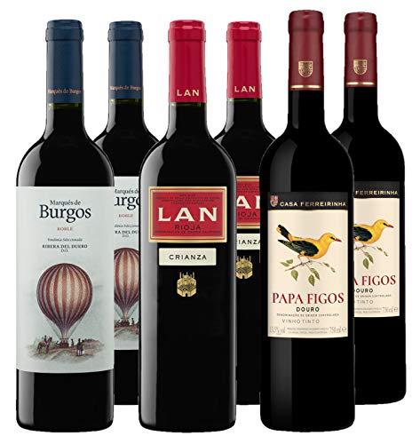 Bodegas LAN - Pack Vino Tinto Rioja, Ribera del Duero y Douro - 6 botellas de 750 ml - Total: 4500 ml