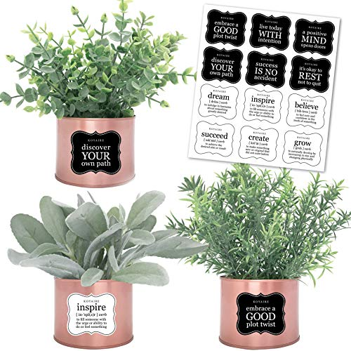 Set of 3 Rose Gold Desk Accessories for Women Office; Eucalyptus, Rosemary, Lamb's Ear Small Fake Plants; Rose Gold Room Decor for Women; Faux Plants Indoor; Home Office Desk Accessories