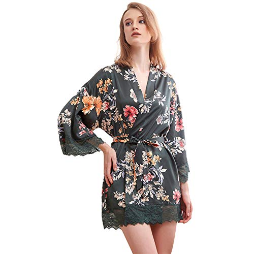 Ansemen Mujeres Boda Novia Bata Corto Kimono Albornoz Satén Estampado Floral Pijamas Camisones Ropa de Casa