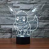 WoloShop Lampara LED Pokémon Eevee Cambia Color USB Luz Nocturna
