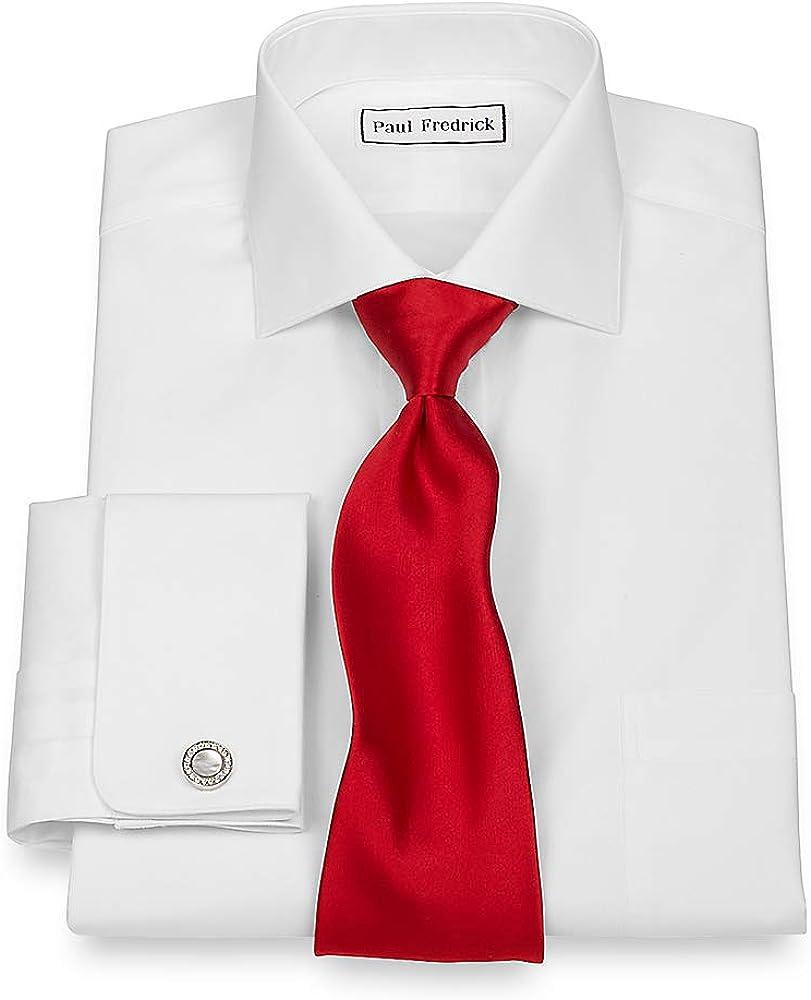 Paul Fredrick Men's 2-Ply Cotton Cutaway Collar French Cuff Dress Shirt