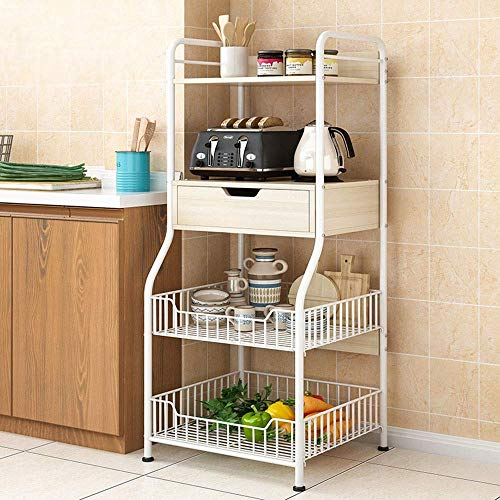 N/Z Home Equipment Microwave Oven Rack Kitchen Baker's Rack Utility Storage Shelf 4 Tier Shelf with 2 Wire Baskets and 1 Drawer For Oven Baker Spice Home Organizer Workstation Shelf