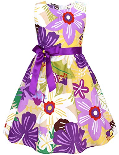 PrinceSasa Summer Cotton Dresses Girls Kids Floral Dress for Child,E67,5-6 Years(Size 130)