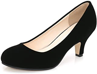OCHENTA Women's Closed Round Toe Low Kitten Heel Slip On...