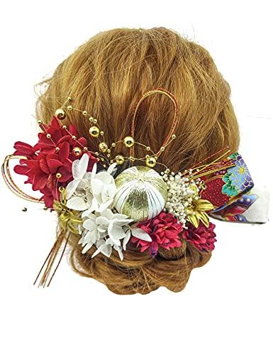 JZOON 髪飾り ドライフラワー 花飾り ヘアアクセサリー ヘアーアクセサリー 結婚式 成人式 卒業式 謝恩会 七五三 和装 振袖 着物 浴衣 袴 紫陽花 水引 和玉