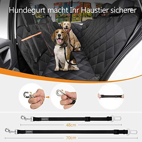 OMORC Hundedecke Autoschondecke, Wasserdichte Hundedecke für Auto Rückbank, 4-Lagigen Rutschfeste Design mit Sicherheitsgurt Sichtfenster für Auto/Van/SUV - 5