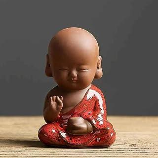 ZLBYB Creative Mini Ceramic Buddha Statue Tea Pet Purple Clay Cute Little Monk Tea Table Zen Decoration Home Office Deskto...