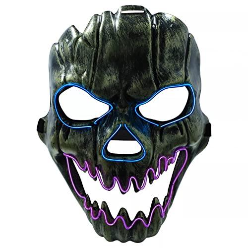 BAJIE Máscara de Halloween Halloween Scary Horror Máscara de Calavera Led Glow...
