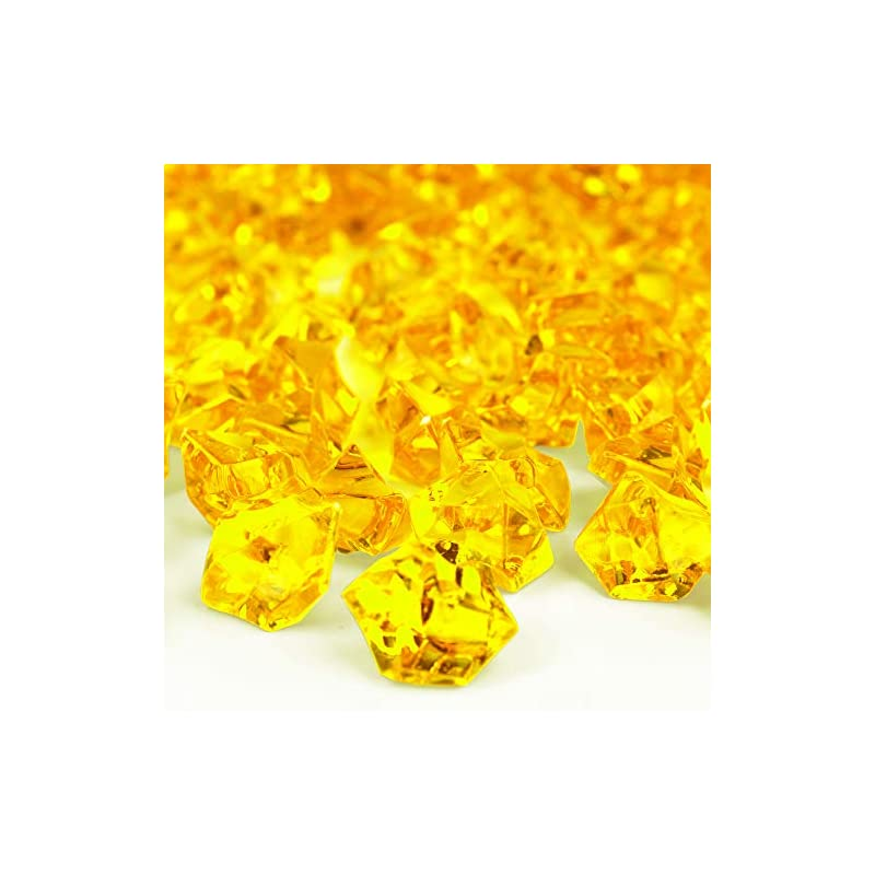 silk flower arrangements cys excel acrylic yellow crushed ice vase fillers (approx. 180-190 pcs, 3 cups) | multiple color choices plastic crushed glass for arts & crafts | acrylic rock gems table scatter
