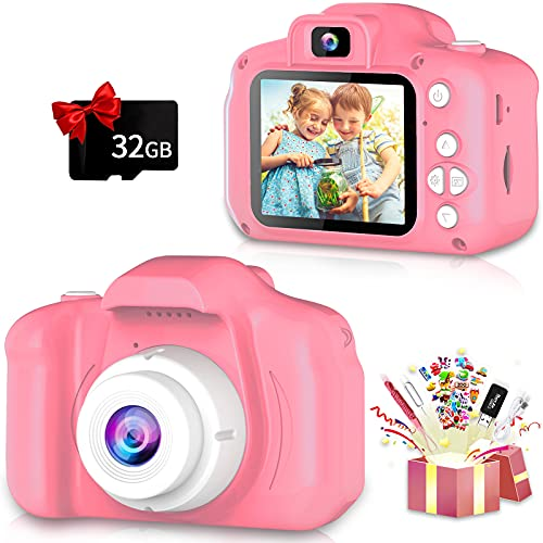 Kids Camera, Upgrade Selfie Camera for Kids, Best Birthday Gifts for Girls Age 3-12, HD Digital Video Cameras for Toddler, Kids Toys Camera for 3 4 5 6 7 8 9 10 Year Old Girl with 32GB SD Card (Pink)