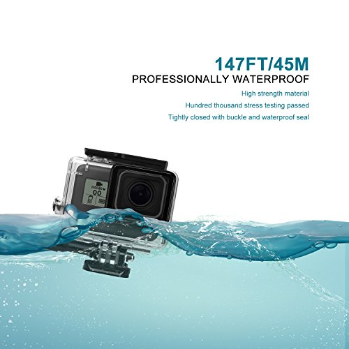 Deyard 45M Waterproof Case for GoPro Hero 7(Only Black)/HD(2018)/5/6 Underwater Waterproof Protective Housing Case for GoPro Action Camera with Quick Release Mount and Thumbscrew