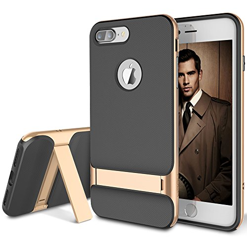 iPhone 7 Plus Case, ROCK [Royce Stand] - Black & Champagne Gold [Ultra Thin][Kickstand][Metal Texture Side Buttons][Dual Layered][Slim Fit][Hard PC + Soft TPU] For Apple iPhone 7 Plus (2016)