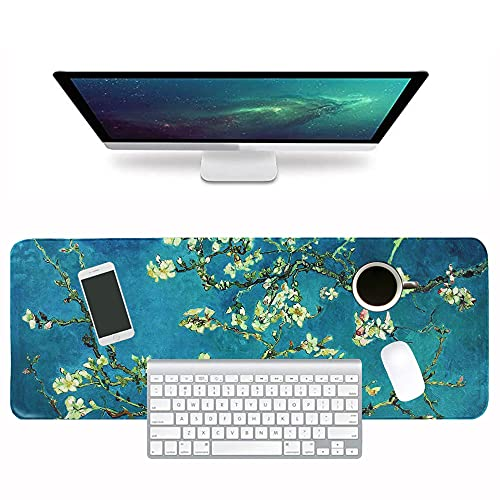 LIZIMANDU Gaming Mouse Pad,Extended Large Pattern Anti Slip Stitched Edges Long XXL Mousepad,Desk Pad Keyboard Mat, Non-Slip Base, Water-Resistant, for Work & Gaming, Office & Home(Peach Blossom)