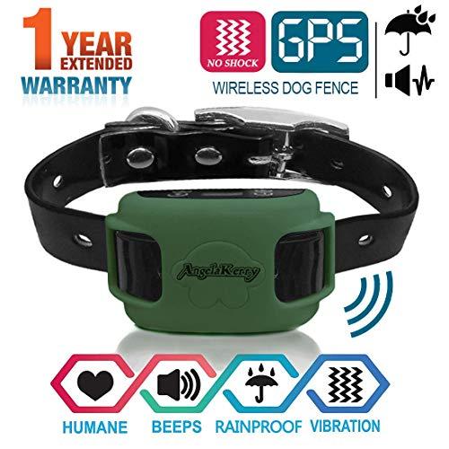 AngelaKerry Drahtloser Hundezaun Enthalten System für 850YD Fernbedienung Reichweite, mit GPS Halsband, Vibration & Ton (Grün)