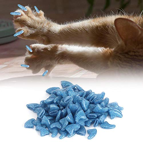 Cikonielf 100st huisdier nagelkappen nagel caps kraallbescherming zachte PVC kristal nagelkap veilige kat honden nagelkappen onderhoudsaccessoire voor honden en kat, Small, kristalblauw