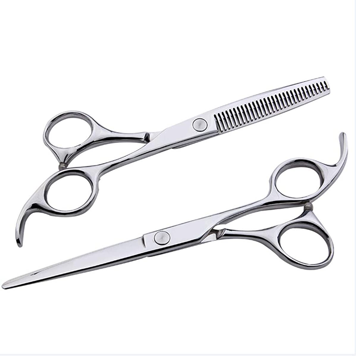 ロッカー虫を数える特性6インチ美容院プロフェッショナル理髪セット、フラット+歯シザー家族理髪ツールセット モデリングツール (色 : Silver)