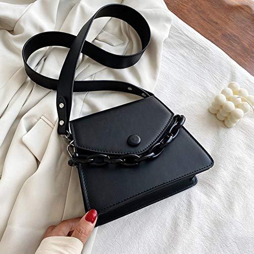 PANZZ Solid Color Chain Crossbody Bags Women Summer Shoulder Cross Body Bag Ladies Handbags, Black, Mini