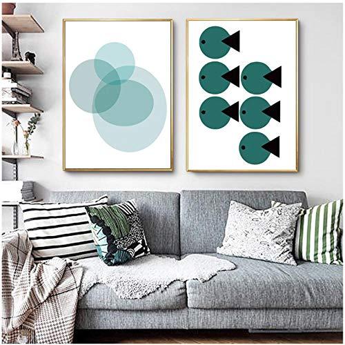 NR Pintura de Peces geométricos Lámina de póster Imagen Pared Habitación de bebé Dormitorio de niños Decoración del hogar póster 2 Piezas (50x70 cm Sin Marco)