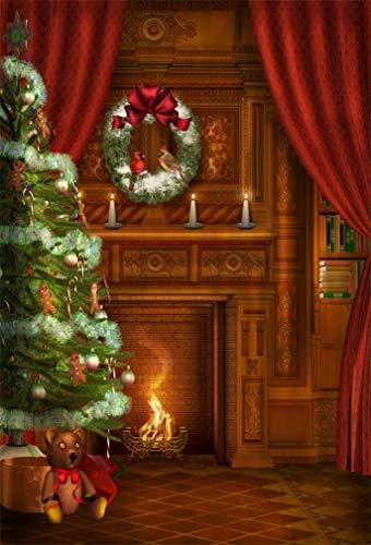 YongFoto 1,5 x 2,2 m polyester foto achtergrond binnen Kerstmis krans open haard lamp fotografie achtergrond voor fotoshooting portretfoto's party kinderen bruiloft fotostudio rekwisieten