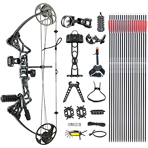 Compound Bow TOPOINTARCHERY M1 Package, 19'-30' Draw Length,19-70Lbs Draw Weight,320fps IBO Limbs Made in USA (Black camo)