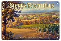 シエラフットヒルカリフォルニアワインナショナルメタルラベル レトロな家の壁の装飾錫金属ギフト装飾ヴィンテージプラーク