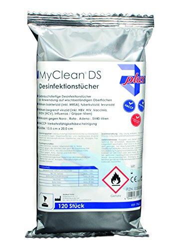 MyClean® DS Desinfektionstücher (neutral) | 120 Reinigungstücher zur Flächendesinfektion | Hygienereinigungstücher für div. Oberflächen | Feuchte Tücher zur hygienischen Reinigung auch unterwegs