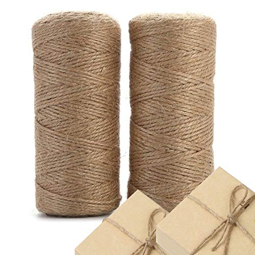 WODTRUE 3 Ply 2mm Thick 328 Feet Natural Jute Twine 2 Pack,Christmas Twine,Best Arts Crafts Gift Twine Durable Packing String for Weddings,Gift Wrapping, Gardening,DIY Crafts, Decoration.
