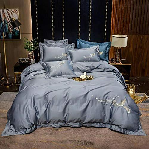 Qianqingkun Traje de algodón de Cuatro Piezas, 100 sábanas de algodón Que no dañan la Piel, Funda de edredón, Estilo nórdico, 60 Simples algodón de Fibra Larga-Light Stone Blue_Cama de 1,5 m