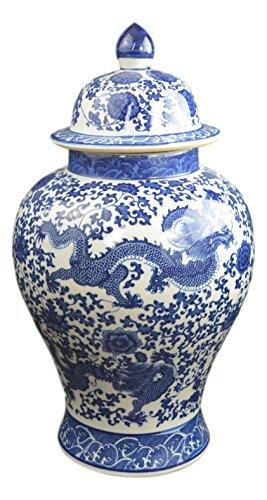 "Festcool 20"" Classic Blue and White Porcelain Floral Temple Dragon Jar Vase, China Ming Style, Jingdezhen"