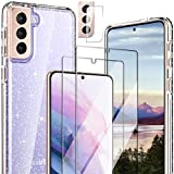 Hocase for Galaxy S21 Plus Case, (with 2 Screen Protectors + 1 Camera Protector) Shockproof Soft TPU+Hard Plastic Full Body Protective Case for Samsung Galaxy S21 Plus 5G (6.7') 2021 - Clear/Glitter